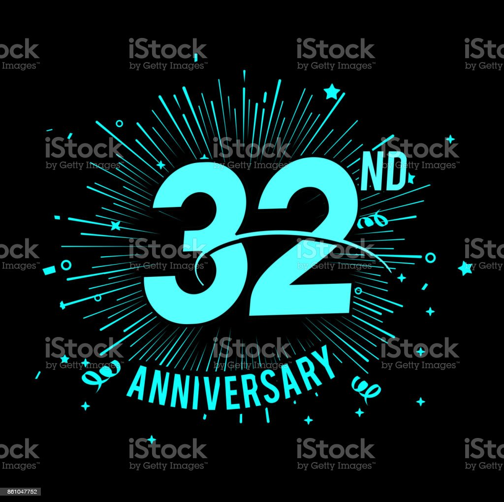 32nd anniversary  with firework background. glow in the dark design concept vector art illustration