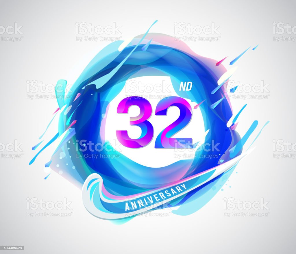 32nd colorful anniversary symbol. abstract liquid color elements celebration background design vector art illustration