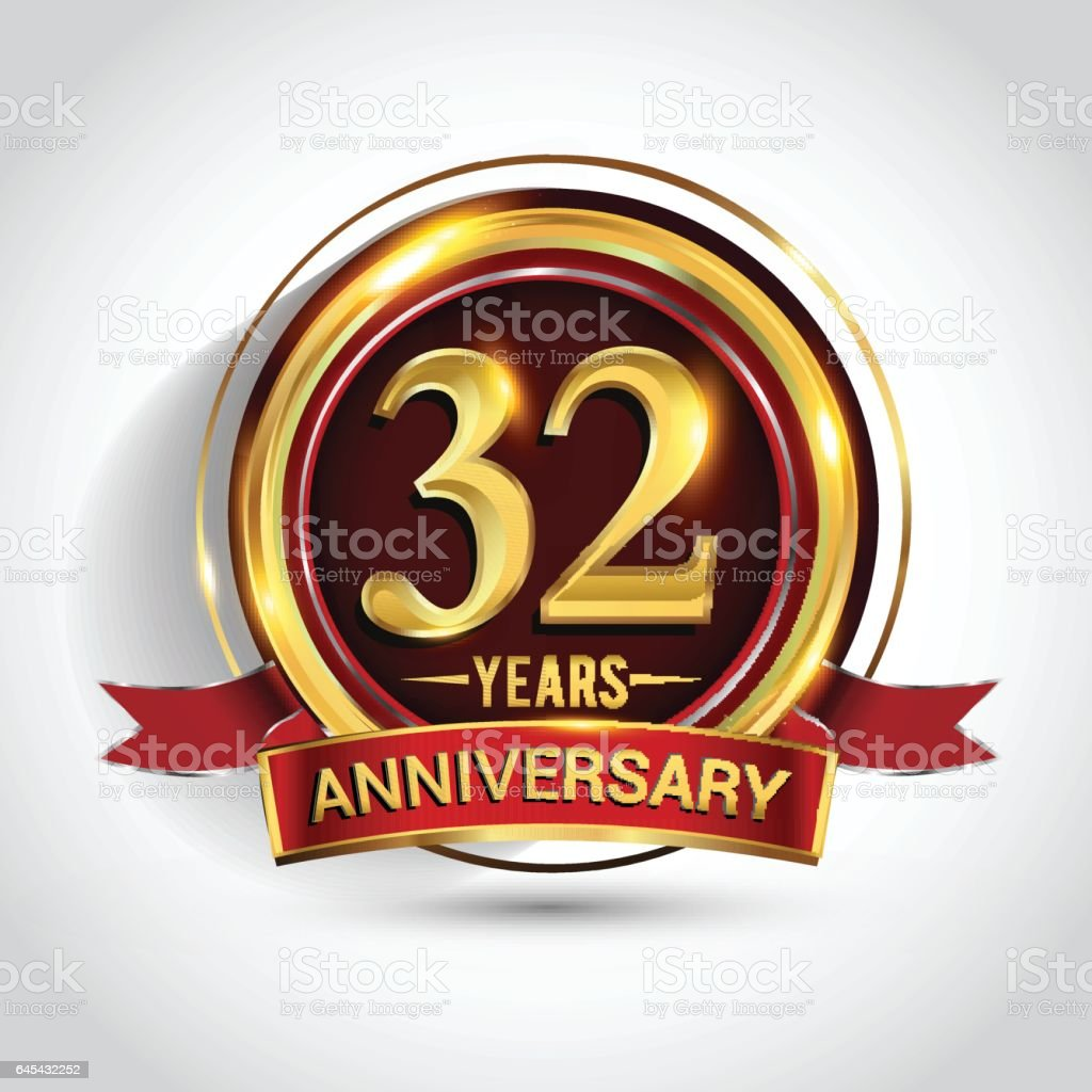 32nd golden anniversary logo with ring and red ribbon isolated on white background vector art illustration