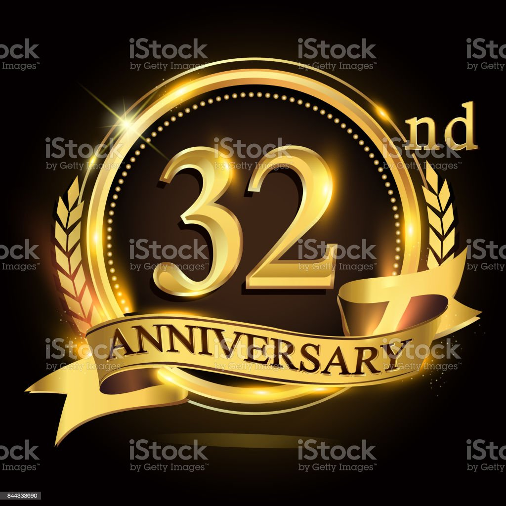 32nd golden anniversary logo with ring and ribbon, laurel wreath vector design. vector art illustration