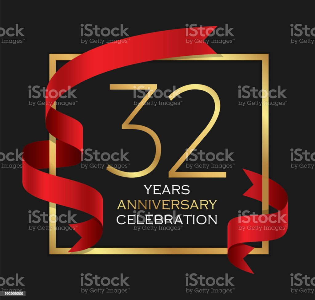 32nd years anniversary celebration background vector art illustration
