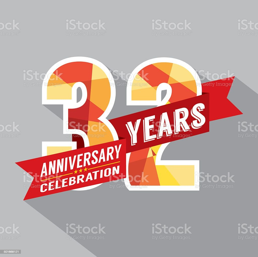 32nd Years Anniversary Celebration Design vector art illustration