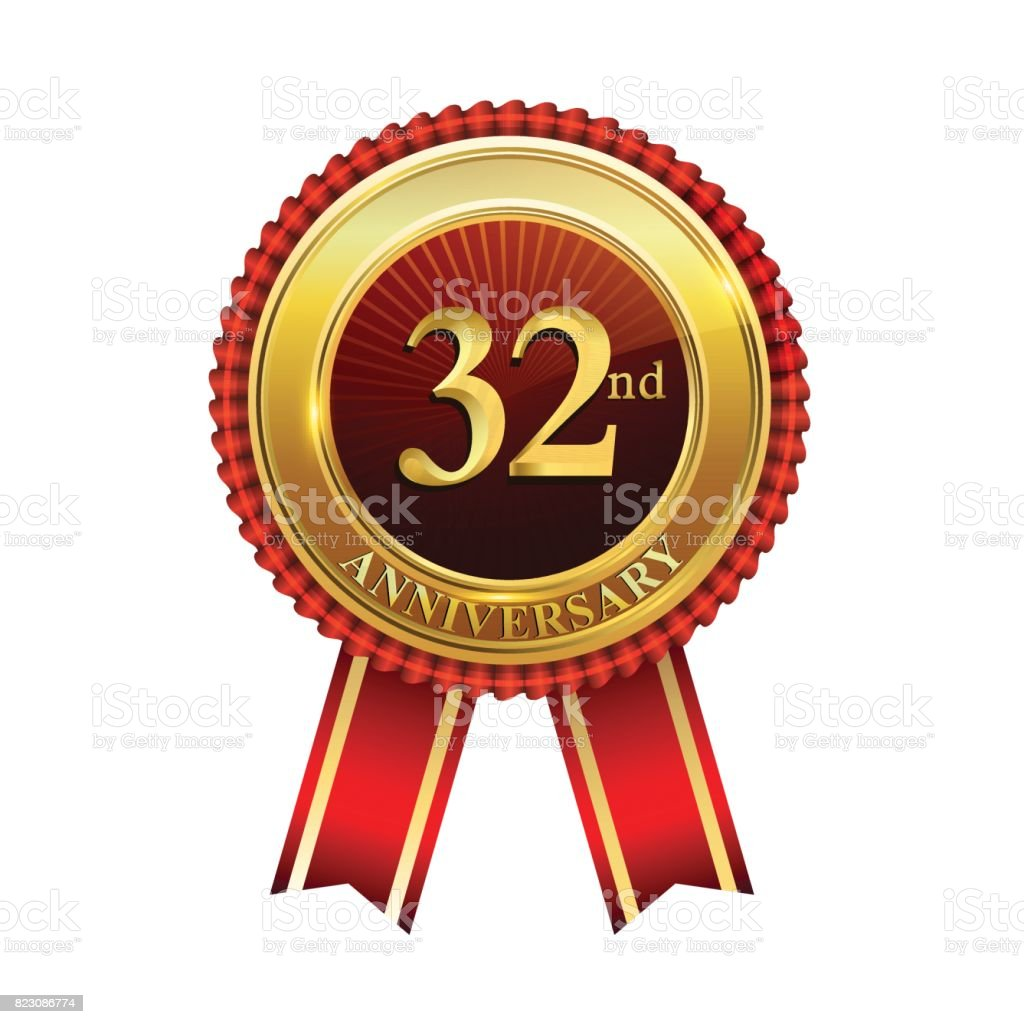 32nd years anniversary golden badge with red ribbons isolated on white background, vector design for greeting card, banner and invitation card. vector art illustration