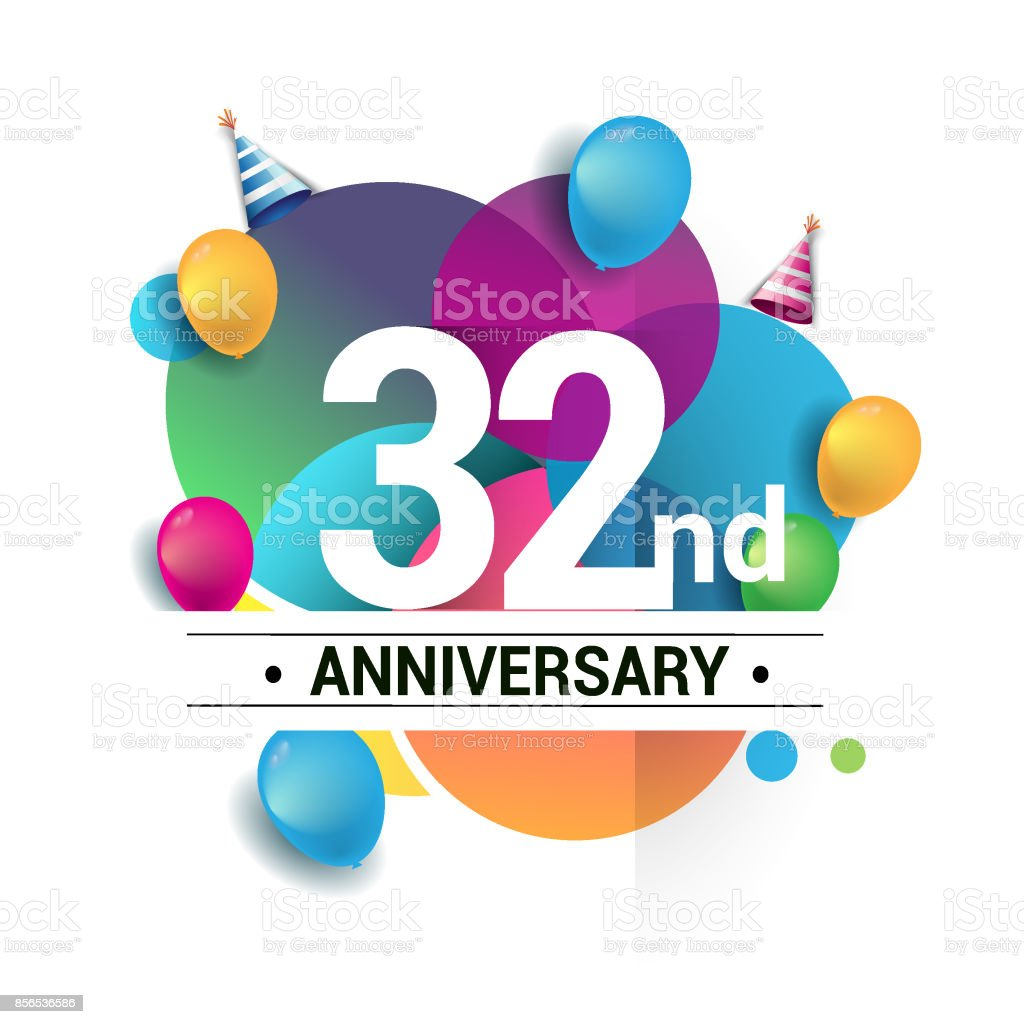 32nd years anniversary logo, vector design birthday celebration with colorful geometric, Circles and balloons isolated on white background. vector art illustration