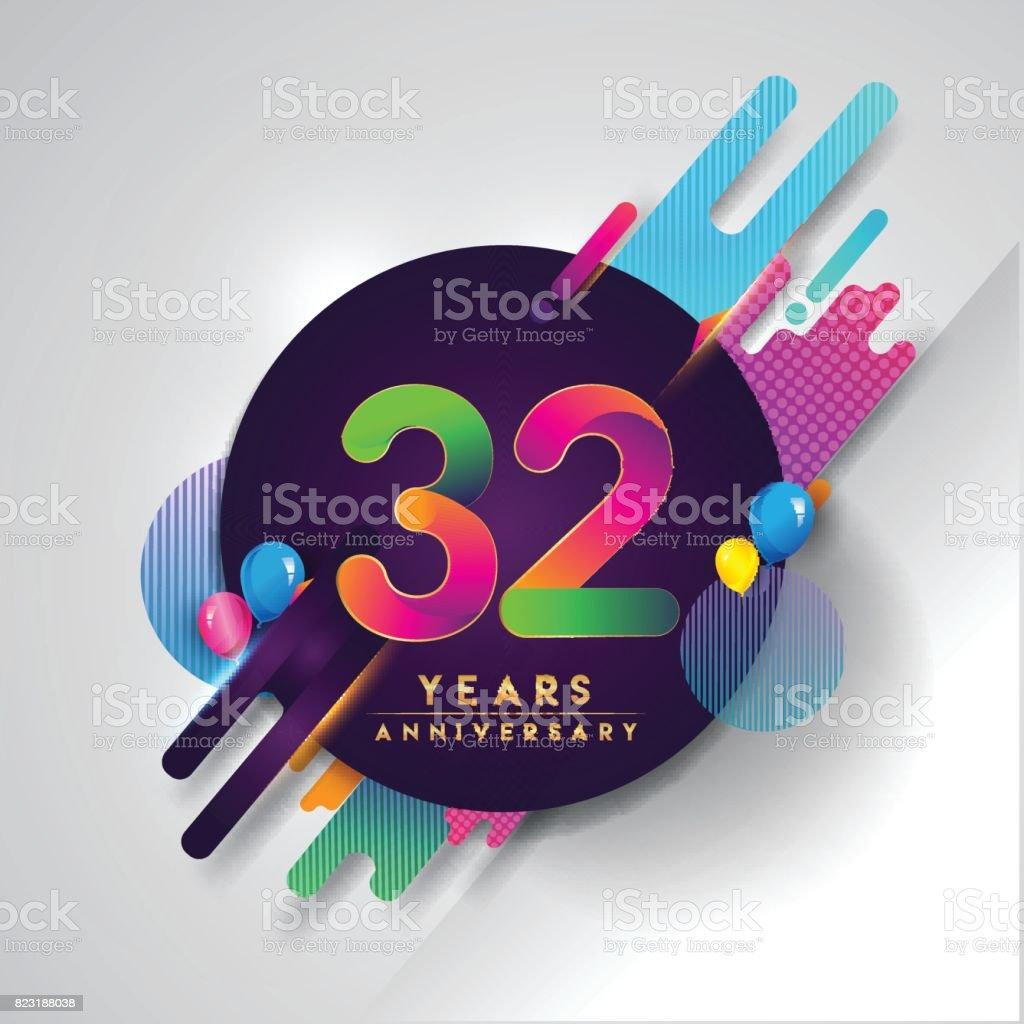 32nd Years Anniversary Symbol With Colorful Abstract Background