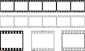 6 frame 35mm film strip in color and b&w film types. Also individual frames and an outline frame. Accurate sprocket hole proprtions! Frames numbered 1 - 6 and 1a - 5a, fake barcode and iso 100 marking. Zip file contains eps (vetor)and hi res jpg version.