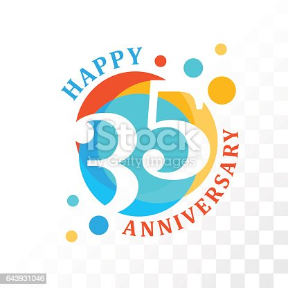 35th Anniversary emblem. Vector  template for anniversary, birthday and jubilee