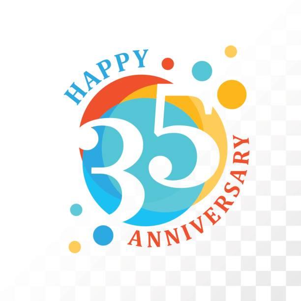 stockillustraties, clipart, cartoons en iconen met 35e verjaardag embleem. - 35 39 jaar