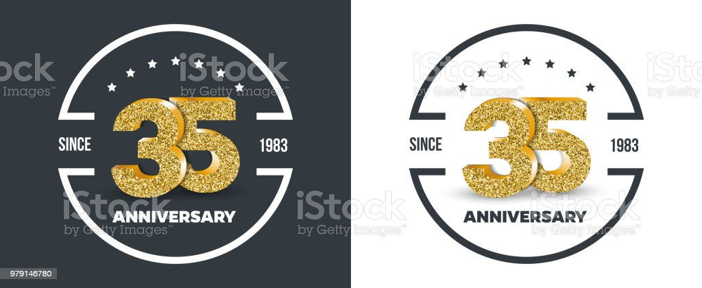 35th Anniversary Gold Colored Logo On Dark And White Background 35