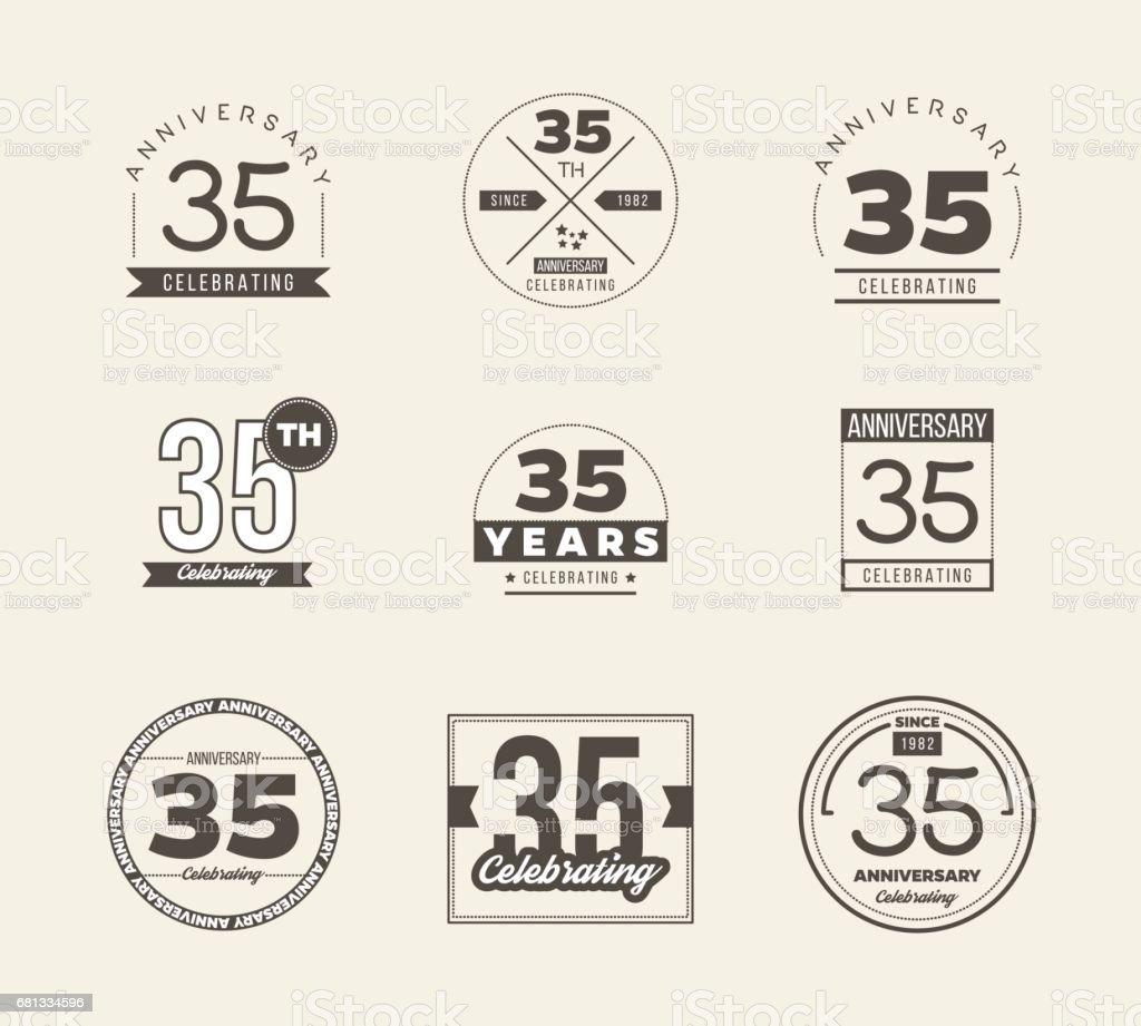 35th Anniversary Vintage Symbol Set 35 Years Symbols Stock Vector
