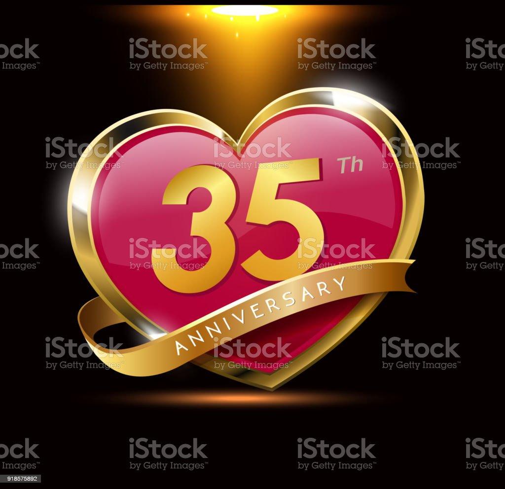 35e Verjaardag Van De Liefde Met Glanzend Goud Op Zwarte Achtergrond