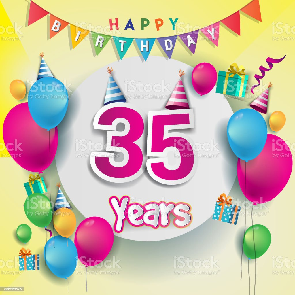 35th Years Anniversary Celebration Birthday Card Or Greeting Design With Gift Box And Balloons Colorful Vector Elements For The