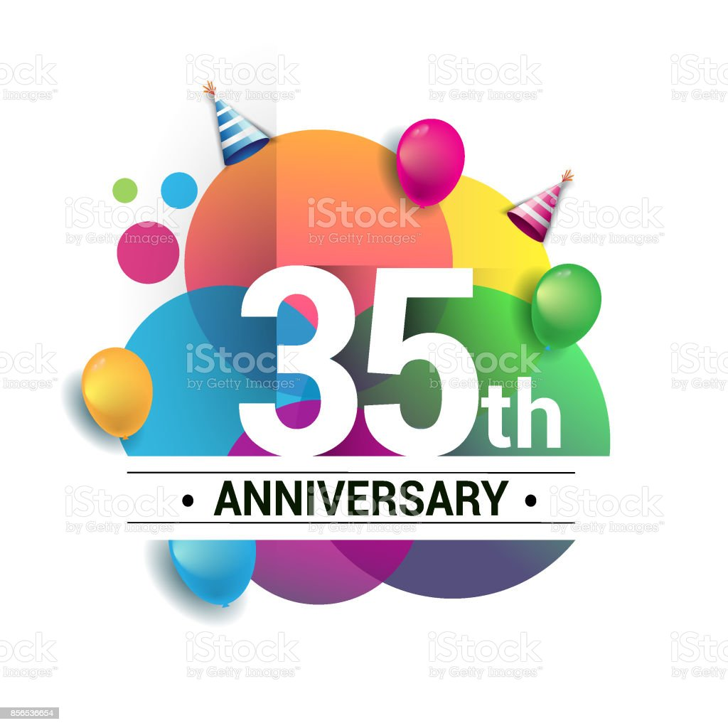 35th Years Anniversary Logo Vector Design Birthday Celebration With Colorful Geometric Circles And Balloons Isolated On White Background