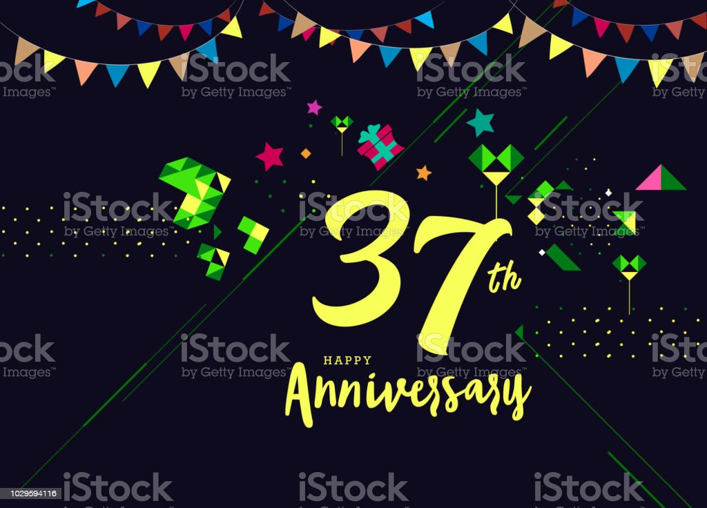 37th Happy Anniversary Lettering Text Banner Dark Color With