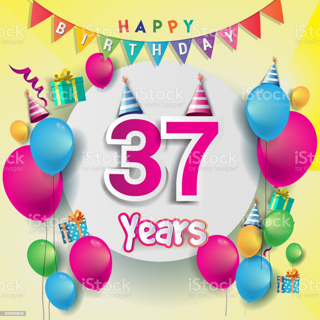 37th Years Anniversary Celebration Birthday Card Or Greeting Design With Gift Box And Balloons Colorful Vector Elements For The