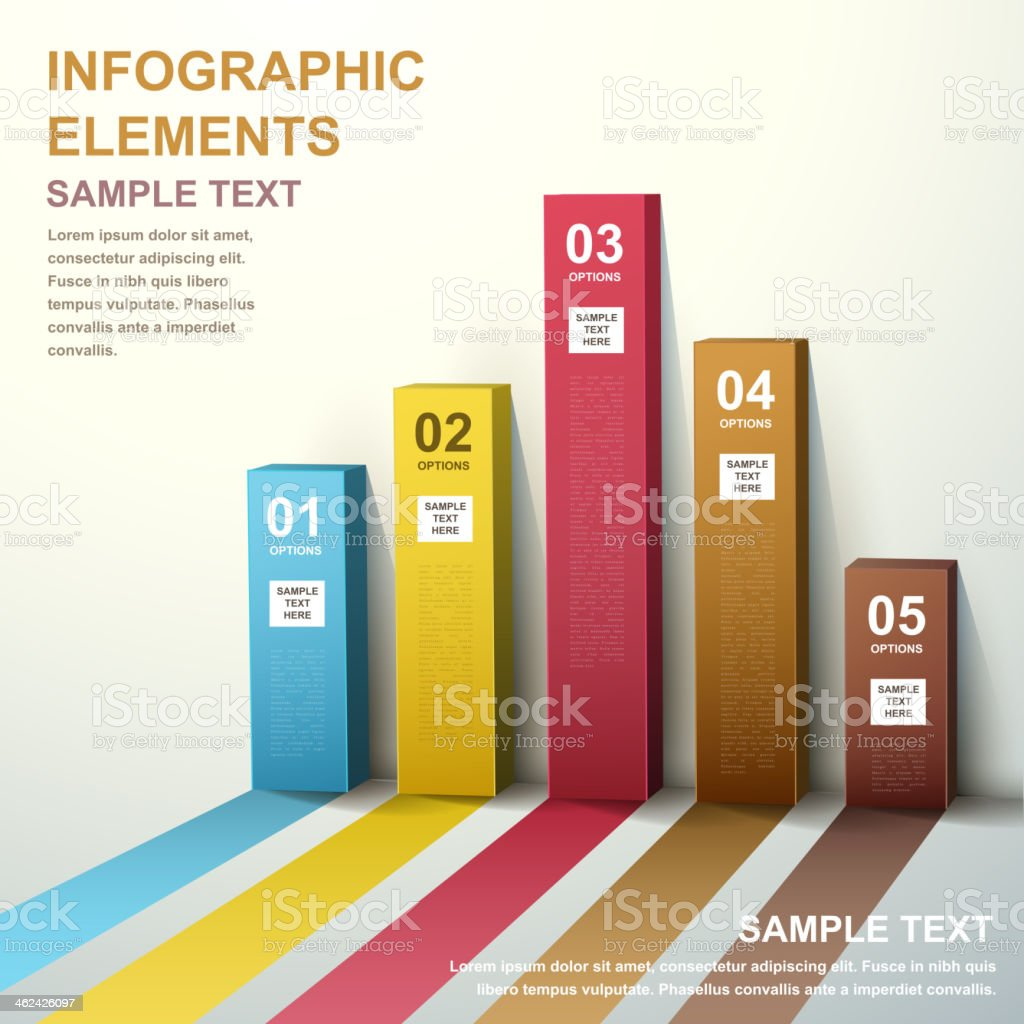 3d abstract bar chart infographics vector art illustration