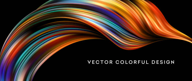 3d 추상 다채로운 액체 디자인입니다. 벡터 일러스트 레이 션 - 다중 색상 stock illustrations