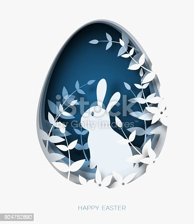 istock 3d abstract paper cut illustration of colorful paper art easter rabbit, grass, flowers and blue egg shape. 924752892