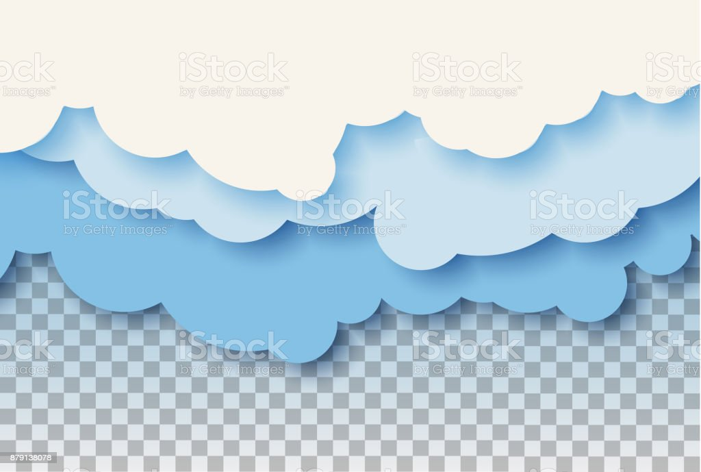 3d abstract paper cut illustration of pastel blue sky and clouds. Vector colorful template. vector art illustration