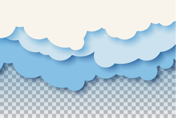 3d abstract paper cut illustration of pastel blue sky and clouds. vector colorful template. - chmura stock illustrations