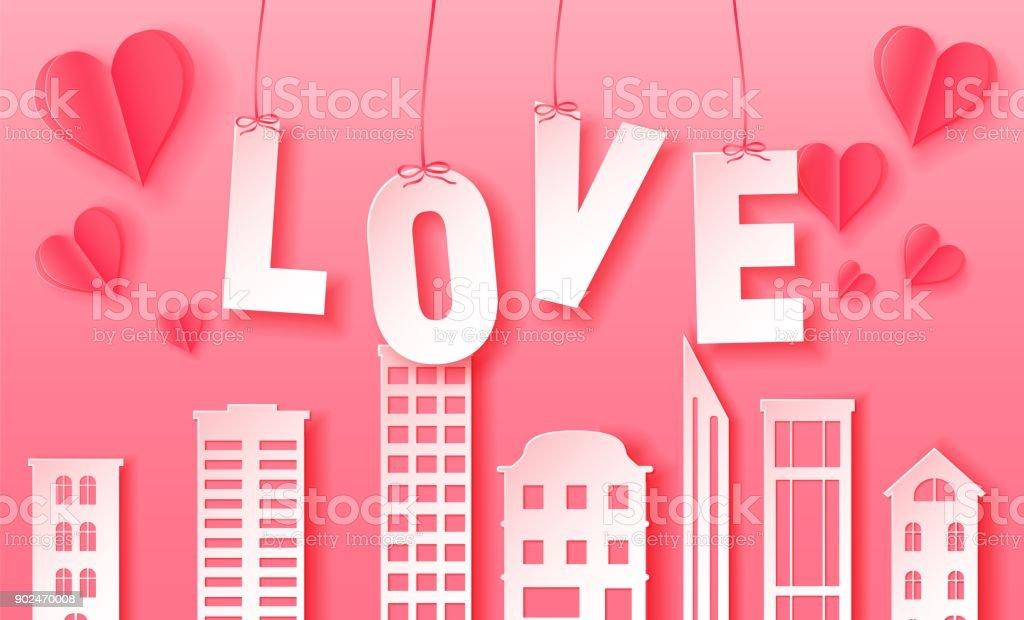 3d abstract paper cut illustration of pink paper town and love letters vector colorful template