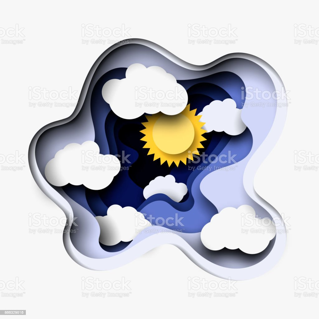 3d abstract paper cut illustration of white clouds and sun vector