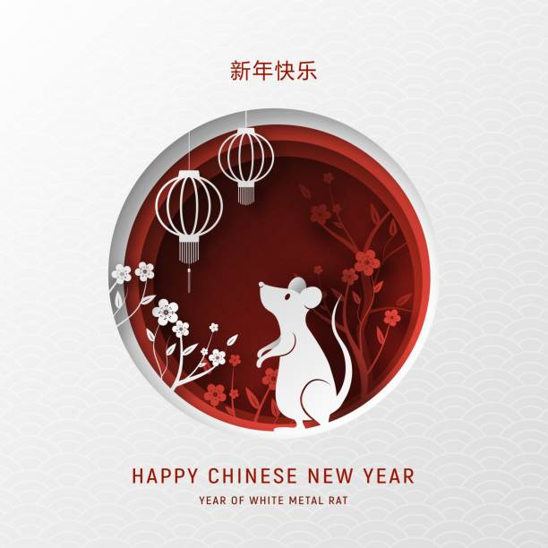 3d abstract paper cut illustration of white metal chinese new year rat, lantern, flowers and red circle shape. - китайский новый год stock illustrations