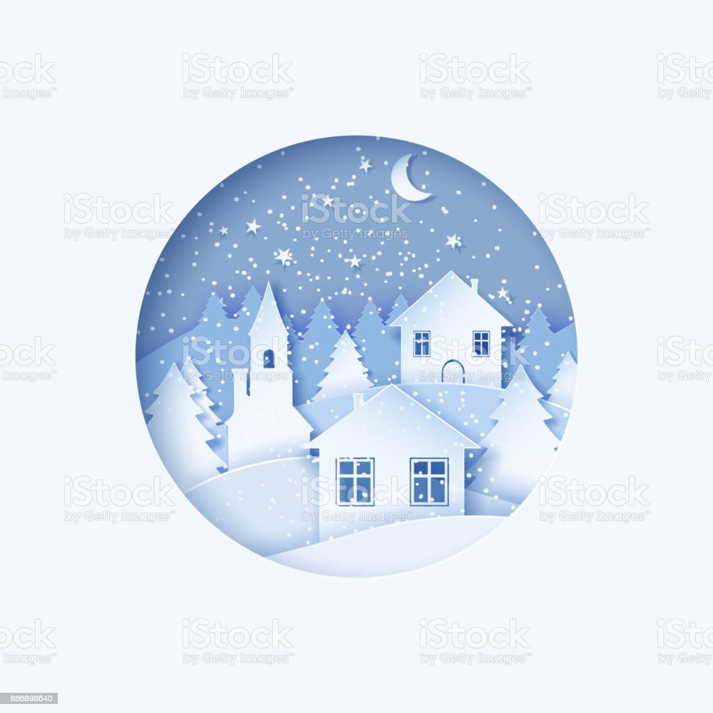 3d Abstract Pastel Paper Cut Illustration Of Winter Town Night