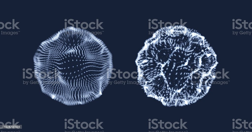 3d abstract sphere. Array with dynamic particles. Modern science and technology element. Vector illustration. vector art illustration
