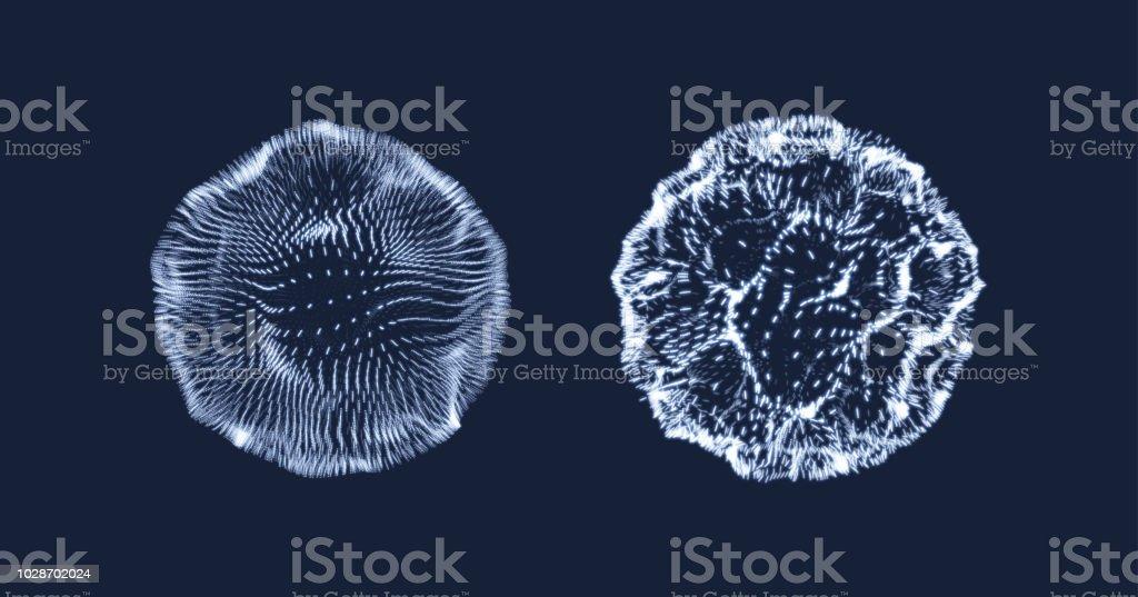 3D abstrata esfera. Matriz com partículas dinâmicas. Elemento de ciência e tecnologia moderno. Ilustração em vetor. - ilustração de arte em vetor
