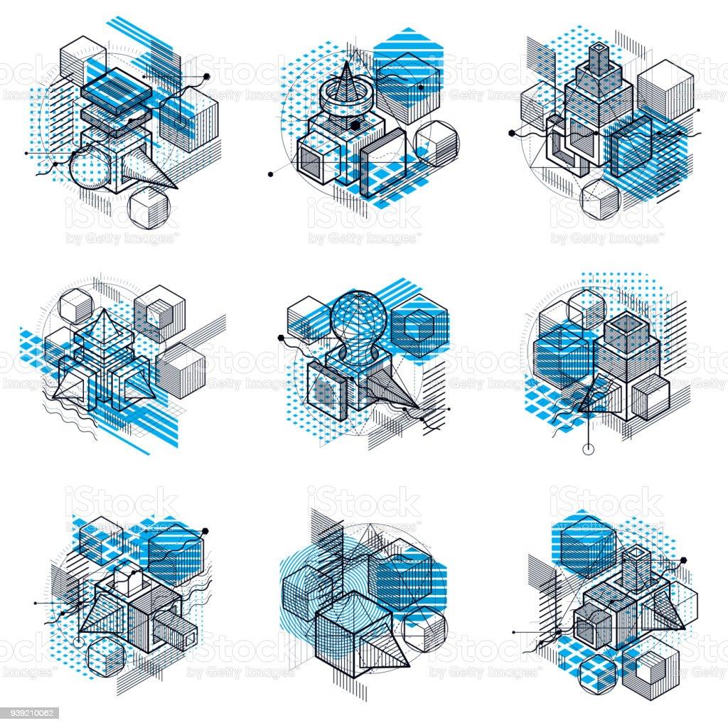 fondos en 3D abstracto vector isométrica. Diseños de cubos, hexágonos, cuadrados, rectángulos y diferentes elementos abstractos. Colección de vector. - ilustración de arte vectorial