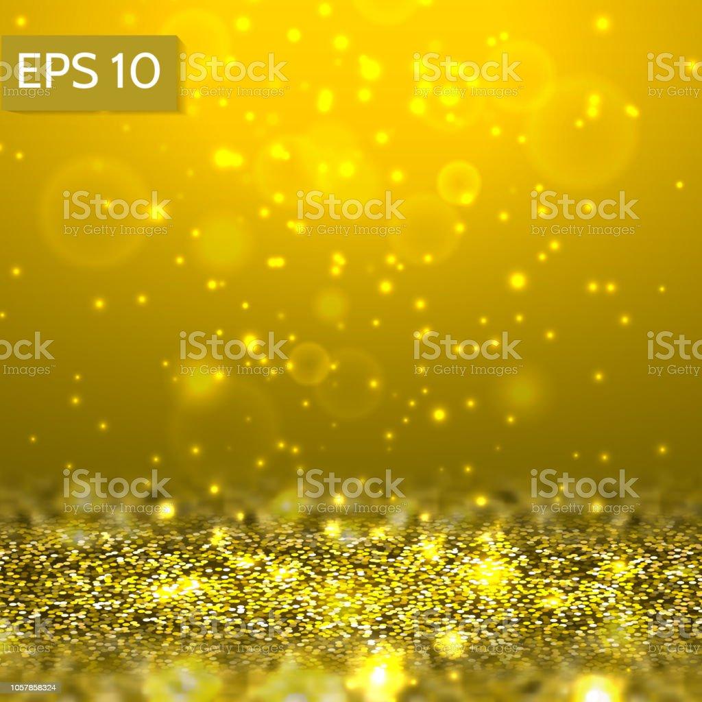 3d abstrakt gelb Glitter Lichter Vektor Hintergrund. – Vektorgrafik