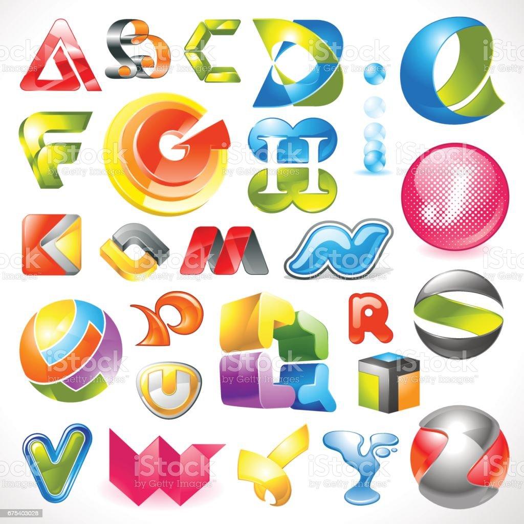 vecteur des éléments de conception 3D alphabet vecteur des éléments de conception 3d alphabet – cliparts vectoriels et plus d'images de abstrait libre de droits