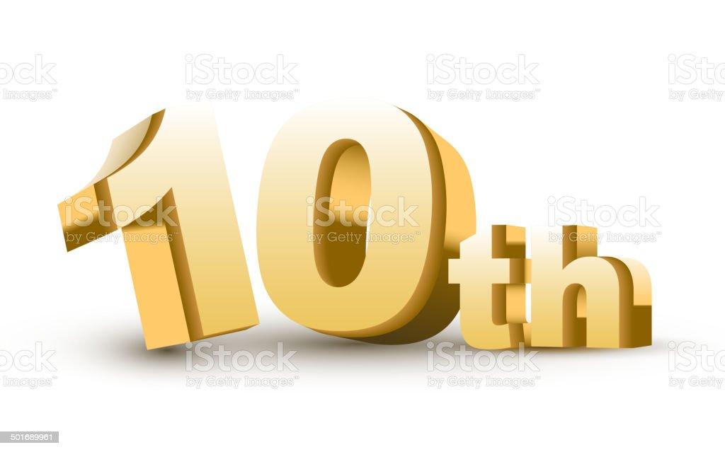 3d anniversary, 10th royalty-free stock vector art