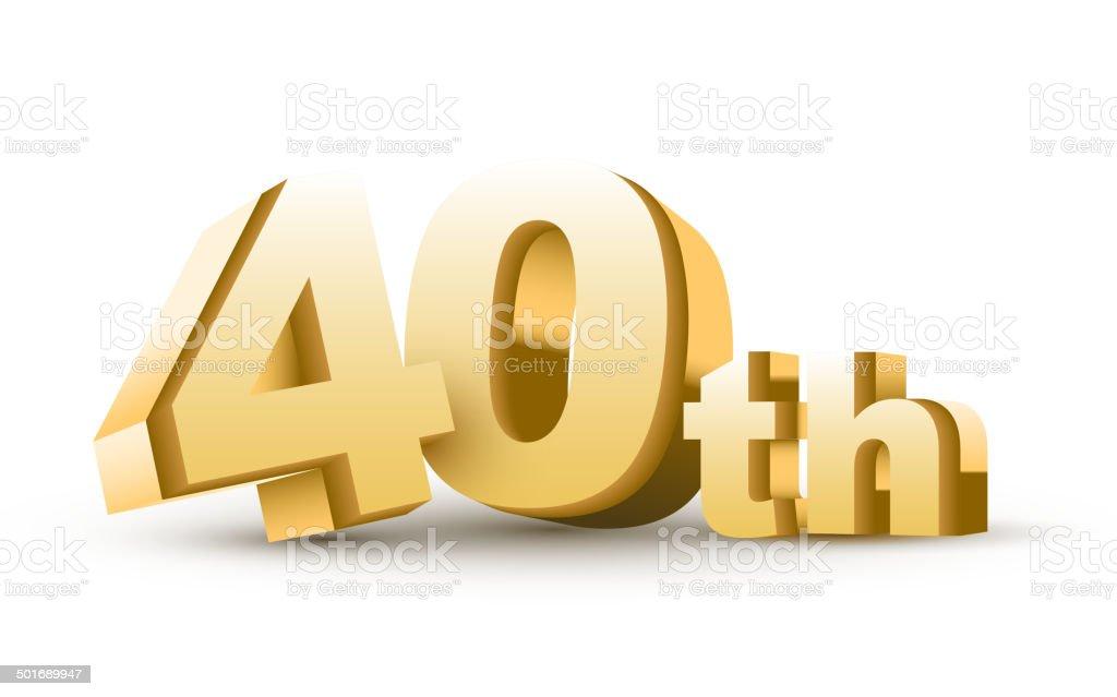 3d anniversary, 40th royalty-free stock vector art