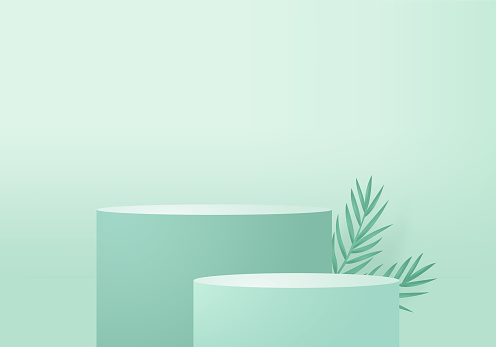 3d background products minimal podium scene with geometric platform. background vector 3d rendering with podium. stand to show cosmetic products. Stage showcase on pedestal modern studio green pastel