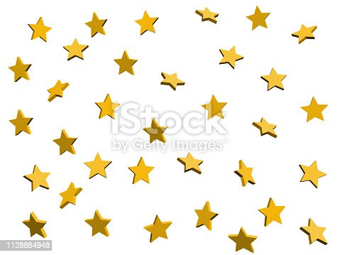 3d background with yellow stars on  isolated . Golden abstract decoration.