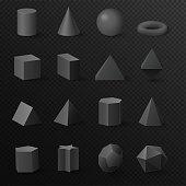 3d basic volumetric black diamond shapes figures set. Realistic vector primitives with shadows