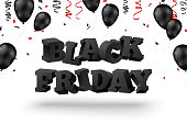 3d Black Friday text with balloons and serpentine on white background. Vector illustration.