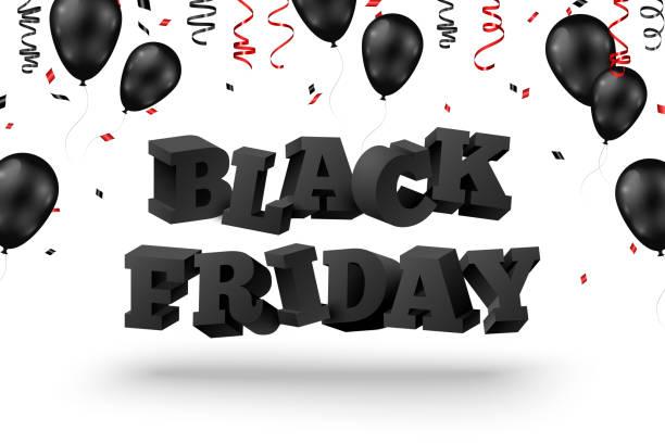 3d 검은 금요일 텍스트 - black friday stock illustrations