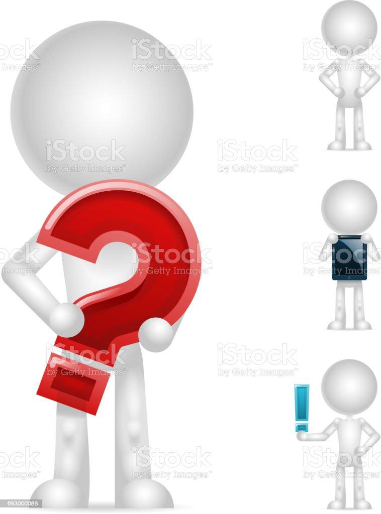 tablet pc de exclamação de pergunta de caractere em branco de 3D isolado ícones conjunto render design ilustração vetorial - ilustração de arte em vetor