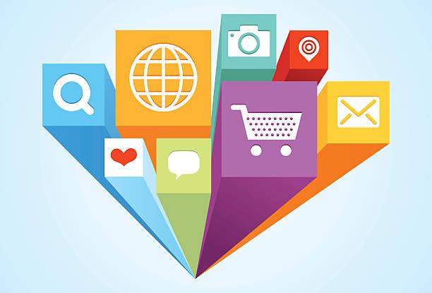 ilustraciones, imágenes clip art, dibujos animados e iconos de stock de bloques e iconos 3d - zoom call