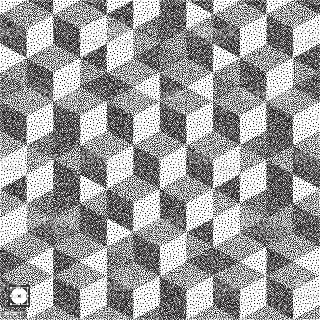 3d blocks structure background. Black and white grainy dotwork design. Pointillism pattern. Stippled vector illustration. royalty-free 3d blocks structure background black and white grainy dotwork design pointillism pattern stippled vector illustration stock vector art & more images of abstract
