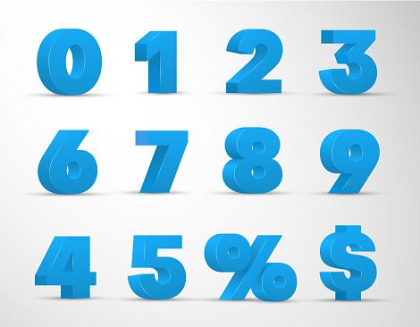 3d blue arabic numerals realistic set. 0, 1, 2, 3, 4, 5, 6, 7, 8, 9 digits, percent, dollar sign.