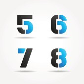 5678 3d blue stencil numbers