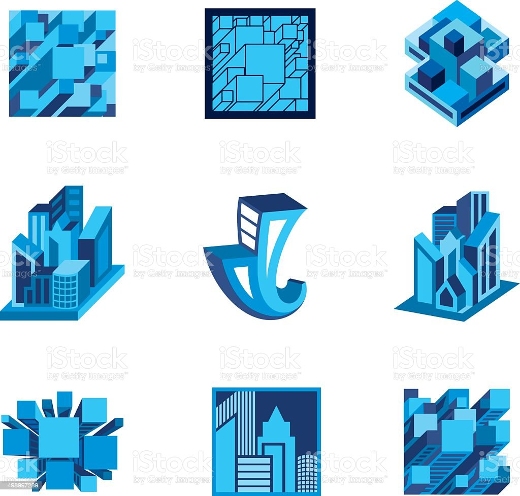 3d building icons vector art illustration