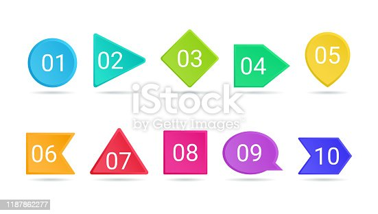 3d bullet point vector illustration set - isolated bright colorful pointers with numbers from 1 to 10. Volumetric buttons of different fshape with shadow for business infographic or brochure design.