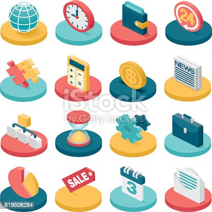 A set of 16 isometric business related icons.