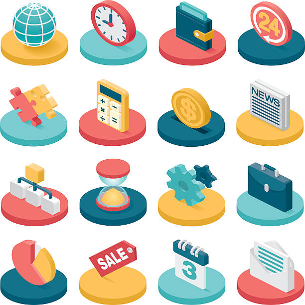 3d business icons - 3d icons stock illustrations, clip art, cartoons, & icons