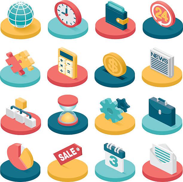 3 d ícones de negócios - ilustração de arte em vetor